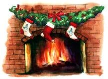 Chimenea de Christmass ilustración del vector
