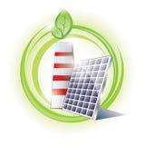 Chimenea de Eco y el panel solar Foto de archivo libre de regalías