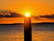 Chimenea de la puesta del sol Foto de archivo libre de regalías