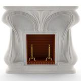 chimenea de mármol blanca 3D Foto de archivo libre de regalías