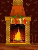 Chimenea de piedra con las decoraciones de una Navidad Imagen de archivo