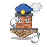 Chimenea del ladrillo de la policía en la mascota de la forma ilustración del vector