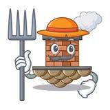 Chimenea del ladrillo del granjero en la mascota de la forma libre illustration