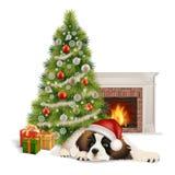 Chimenea del perro del árbol de navidad Fotografía de archivo