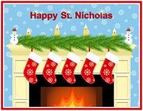 Chimenea en el día de San Nicolás ilustración del vector