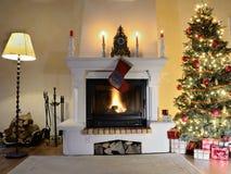 Chimenea en el tiempo de la Navidad Foto de archivo