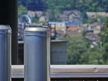 Chimenea industrial con aire caliente que oscila Foto de archivo