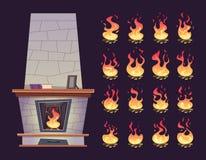 Chimenea interior La animación del Keyframe del lugar ardiente del fuego para relaja historietas del vector stock de ilustración
