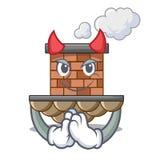 Chimenea miniatura del ladrillo de la historieta del diablo sobre la tabla libre illustration
