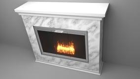Chimenea moderna hecha del mármol con las llamas ilustración del vector