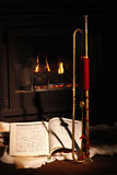 Chimenea, trompeta, música Imagen de archivo libre de regalías