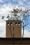 Chimenea vieja y un árbol contra la perspectiva del cielo nublado Imagenes de archivo