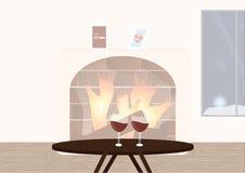 Chimenea y copas de vino Fotos de archivo