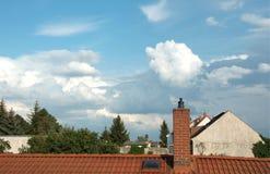 Chimenea y nube Fotografía de archivo libre de regalías