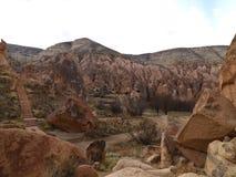 Chimeneas de hadas en el valle de Zelve en Cappadocia, Turquía Foto de archivo libre de regalías