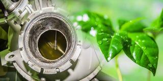 Chimeneas industriales de la fábrica en el fondo de plantas verdes Foto de archivo libre de regalías