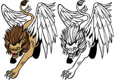 Chimera. Cartoon image of a chimera - both color and black / white versions Royalty Free Stock Photos