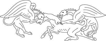 Chimera. Two chimeras hunt on a horse, isolated. Vector illustration Stock Photo