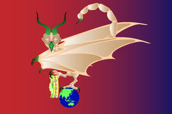 Chimera. Bird with horns, wings of a bat and a tail of the scorpion, sitting on a planet and holding in a paw a crown Royalty Free Stock Image