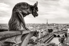 Chimera of the Cathedral of Notre Dame de Paris overlooking the Royalty Free Stock Photography