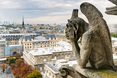 Chimera of the Cathedral of Notre Dame de Paris overlooking Pari Royalty Free Stock Photo