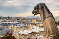Chimera of the Cathedral of Notre Dame de Paris overlooking Pari Stock Photos