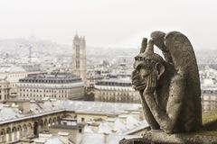 Chimera di Notre-Dame della cattedrale Francia - horizont di Parigi fotografia stock