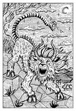 Chimera. Engraved fantasy illustration. Mythological monster with lion head, goat body and snake tail. Fantasy magic creatures collection. Hand drawn vector Stock Photo