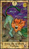 Chimera. Five of wands. Fantasy Creatures Tarot full deck. Minor arcana. Hand drawn graphic illustration, engraved colorful painting with occult symbols Stock Image
