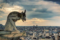 Chimera (gargoyle) of the Cathedral of Notre Dame de Paris Stock Photo