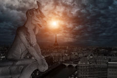 Chimera (gargoyle) of the Cathedral of Notre Dame de Paris Stock Images