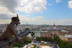 Chimera looking at Paris Royalty Free Stock Photography