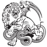 Chimera. The mythological monster chimera , black and white tattoo illustration Stock Photos