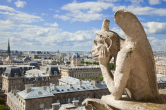 Chimera from Notre Dame of Paris Stock Images