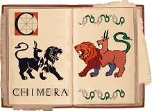 Chimera. Open book with letter C with Chimera Stock Images