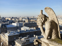 Chimera overlooking the skyline of Paris Royalty Free Stock Images