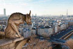 Chimera overlooking the skyline of Paris Stock Photos