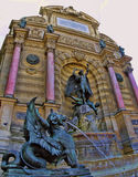 Chimera statue at Fontaine Saint Michel, Paris, France. Stock Photos