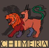 Chimera with title. Monstrous hybrid, composed of the parts lion, goat and snake Stock Image
