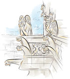 Chimera on the top of Notre-Dame de Paris stock illustration