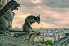 Chimeras of the Cathedral of Notre Dame de Paris overlooking Par Royalty Free Stock Photos