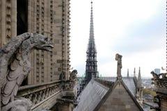 Chimeras gargoyles of the Cathedral of Notre Dame de Paris overlooking Paris, stock photo