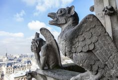 Chimeras on Notre Dame de Paris. France royalty free stock photography
