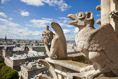 Chimeras from Notre Dame of Paris stock photo