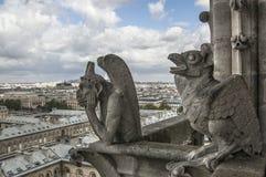 Chimere di Notre-Dame che trascura Parigi Fotografie Stock Libere da Diritti