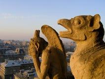 Chimeres che guarda sopra Parigi. Immagini Stock