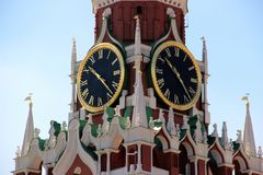 The chimes of the Kremlin. Close-up in the light of day Stock Photo