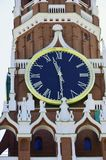 Chimes-the main attraction of Moscow and the Spasskaya tower. Chimes differ from most tower clocks in that they have 4 dials - one on each of the 4 sides of royalty free stock photos