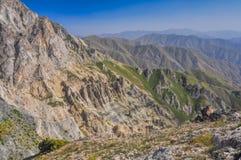 Chimgan in Uzbekistan. Scenic view of Tian Shan mountain range near Chimgan  in Uzbekistan Stock Photo