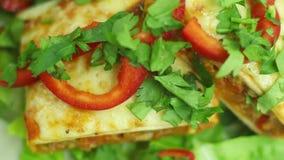 Chimichanga com carne, os vegetais e queijo triturados em um close-up da placa horizontal video estoque
